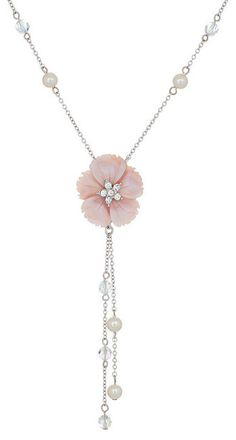 Pink Crystal & Pearl Delicate Flower Necklace