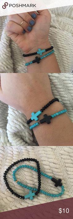 Cross Bracelet Set Turquoise and black complementary bracelet set. So cute! Stretchy. Brandy Melville Jewelry Bracelets