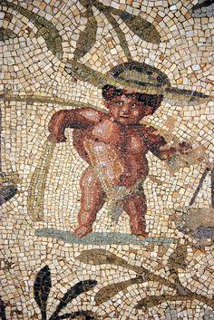 Villa Sileen, Libya. Roman Mosaic of a Pygmy.