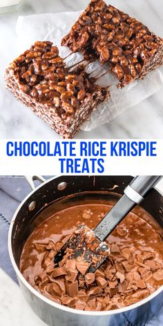 Crispy crunchy chewy gooey - these chocolate Rice Krispie treats have a delicious milk chocolate marshmallow flavor They re the perfect twist on classic Rice Krispies ricekrispies chocolate marshmallows gooey ricekrispietreats nobake Chocolate Rice Crispy Treats, Rice Krispy Treats Recipe, Chocolate Marshmallows, Chocolate Recipes, Chocolate Rice Krispie Cakes, Rice Krispies Treats, Recipes Using Marshmallows, Chocolate Chocolate, Köstliche Desserts