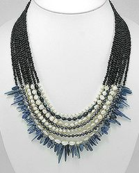 necklaced beaded with Fresh Water Pearls, dyed black Fresh Water Pearls, Seed Bead and Semi GemStone Bead