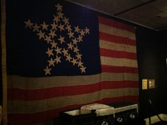 Flag used to drape President Lincoln's coffin (currently housed at the Reagan Library). What Is Patriotism, Reagan Library, Civil War Flags, Lincoln Logs, Star Spangled Banner, Home Of The Brave, Land Of The Free, Bright Stars, Coffin