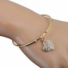 Aaishwarya Gold Bracelet with Crystal Heart Charm #bracelet #goldenbracelet #heartcharmbracelet #discountoffers