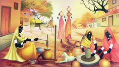 Indian Rural scene (Reprint on Paper - Unframed)