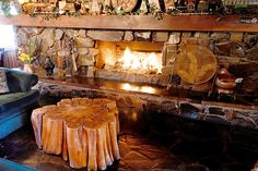 Log Cabin Fireplaces | Beautiful Black Walnut Fireplace