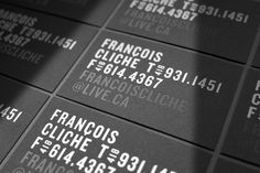 Francois Cliche business cards with white foil and black card detail designed by Figure.