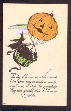 UNUSUAL...WITCH TRADES IN BROOM FOR HOT AIR BALLOON,JOL,HALLOWEEN,OLD POSTCARD
