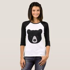 Black Bear Face T-Shirt -nature diy customize sprecial design