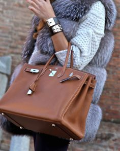 Hermes bag, cuffs and fur