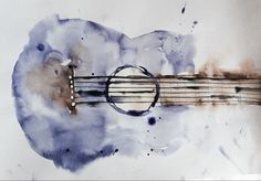 Guitar. Music. Love For Art. Watercolor. Magical. Made by Beck corlan