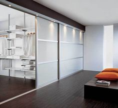 contemporary woman's closet | Walk-in closet design with sliding doors, modern home organization ...