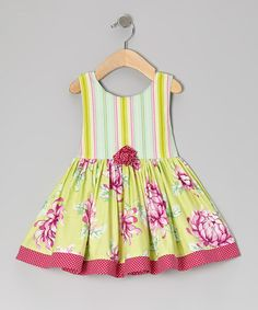 Take a look at this Green Stripe Floral Babydoll Dress - Infant, Toddler & Girls by Carolina Kids on #zulily today!