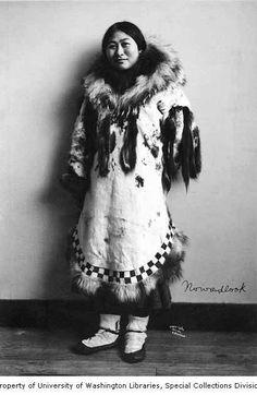 Nowadlook, an Inuit women, dressed in fur parka, Alaska, 1907