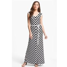 """Calvin Klein belted stripe maxi dress 4 Worn once, excellent pre-loved condition! Black and white chevrons create visually slimming lines for an easy maxi dress complemented by a relaxed tie belt. Slips on over head. Unlined. 95% rayon, 5% spandex. Approx 57"""" in length. ✅offers❌trades/PP bundles save 20% off 2+ Calvin Klein Dresses Maxi"""
