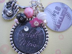 SPORTS MOM BASEBALL Keychain, Custom Necklace $21.50
