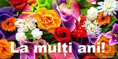 Felicitari cu flori - La multi ani! - mesajeurarifelicitari.com Happy Birthday, Rose, Floral, Flowers, Plants, 8 Martie, Youtube, Happy Brithday, Pink