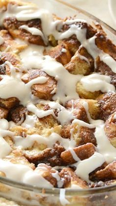 Cinnamon Bun Bread Pudding Recipe ~ Gooey Cinnamon Swirl, Custard-y Bread Pudding, and Rich Frosting. It's the Stuff Cinnamon Dreams are Made of.