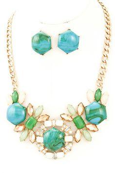 MONICA NECKLACE- Green Mixed epoxy stone necklace set