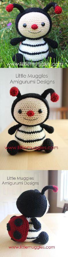 Dottie the ladybug amigurumi pattern by Little Muggles Crochet Bee, Crochet Baby Toys, Crochet Toys Patterns, Amigurumi Patterns, Amigurumi Doll, Crochet Animals, Crochet Designs, Crochet Dolls, Knitting Patterns