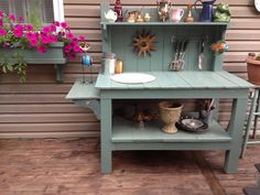 Furniture, Cute Picture Example Nice Outdoor Potting Table Picture Good Grey…