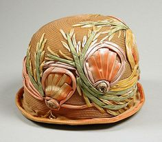Cloche, Bijou, circa 1925, Plaited horsehair with silk ribbon embroidery, LACMA