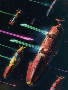 Bring back optimistic sci-fi. Cyberpunk, Sci Fi Anime, Starship Concept, 70s Sci Fi Art, Alien Spaceship, Star Blazers, Space Battles, Star Wars Vehicles, Sci Fi Ships