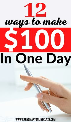 Want to make money fast? Here are 12 ways to make $100 a day online or offline! You work in your spare time and still earn extra money from home. Learn to make quick cash today! #makemoneyfast #earnmoneyfromhome #makemoneyonlinefree #sidejobstomakemoney #careersfromhome Ways To Earn Money, Earn Money From Home, Make Money Fast, Earn Money Online, Online Jobs, Money Saving Tips, Way To Make Money, How To Make, Online Income