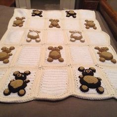 Handmade Crochet Bears Blanket/Afghan For Baby Nursery Yellow, White, Brown