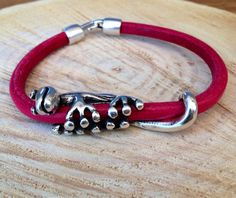 Gecko lizard iguana leather bracelet