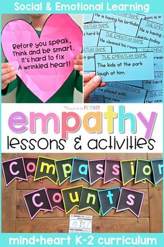 Teach children about empathy at school and in the classroom with these social emotional learning lessons and hands-on activities. Children will build social skills with picture books and writing lessons, empathy games, role playing, and community building projects. #socialemotional #classroommanagement #socialskills #teachingempathy #empathylessons