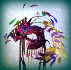 Purple  Fern Sprite Masquerade Mask