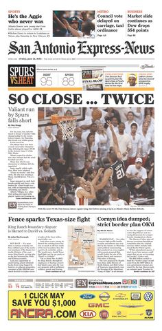 "Tim Duncan's missed shot on the San Antonio Express-News: ""SO CLOSE ... TWICE"""