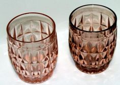 Windsor pink depression glass tumblers~set of two $20