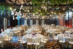 Mystical Garden - love the florals hanging from the ceiling.
