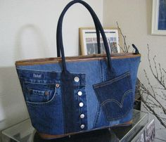 jeans bag - not pattern or tutorial but picture is worth 1000 words.