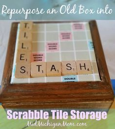 Refurbish an old wood box to something new.  This was found in a thrift store for $4 and is now a scrabble tile storage container.  MidMichigan Mom