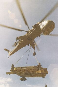 Transport helicopter Sikorsky S-64 skycrane placed a metal platform in its place, Danang