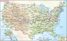Map of #USA - Showing point of interest, major cities, states and ...