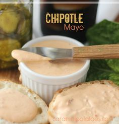 Chipotle Mayo for fries, burgers, crab cakes, sandwiches, and more. cup mayonnaise 2 chipotle chilis in adobo sauce 1 tablespoon adobo sauce from the chipotle chilies 1 teaspoon lime juice Fish Recipes, Mexican Food Recipes, Sauce Recipes, Copycat Recipes, Fondue Recipes, Smoker Recipes, Yummy Recipes, Dinner Recipes, Arroz Con Pollo