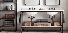 Love how even the pipes look like part of the design! Dutch Industrial Bath Collection - Rust | RH
