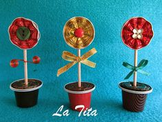 La Tita: Macetitas Diy For Kids, Crafts For Kids, Recycling, Diy Art, Diy And Crafts, Christmas Crafts, Place Card Holders, Handmade, Coffee Pods