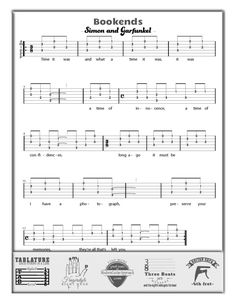 Bookends - by Simon and Garfunkel. Tab and Lyrics. This easy fingerstyle song is fun to learn and play. It uses the interval of a Be sure to use the capo on the fret to keep it sounding like the recording. Easy Guitar Tabs, Guitar Tabs Songs, Easy Guitar Songs, Guitar Sheet Music, Guitar Chord Chart, Guitar Chords, Acoustic Guitar, Guitar Scales, Fun Songs