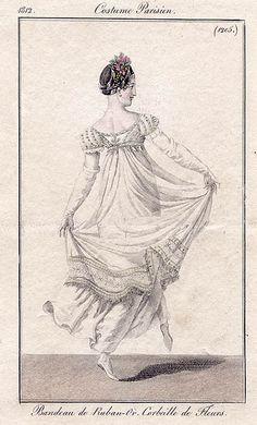 """Costume Parisien, 1812, Plate 1205  """"Bandeau de Ruban-Or. Corbeille de Fleurs"""""""