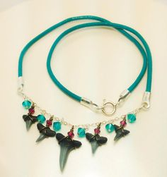 Charleston Shark tooth Collection Necklace - Sterling Silver and Genuine Leather - Swarovski Crystals - Turquoise by JBellsGems on Etsy