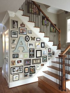 Love my gallery wall. Took a bit but it was worth it Family Tree Wall, Hallway Ideas, Trap, Genealogy, Gallery Wall, Stairs, House Design, Decorating, Black And White