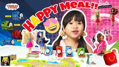 Collect these NEW Thomas & Friends and Barbie Fashionista toys with every Happy Meal. We've collected all 8 toys, incl. Barbie Fashionista, Thomas And Friends, Kids Toys, Birthday Cake, Meal, Happy, Food, Childhood Toys, Birthday Cakes