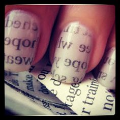 super easy!  use white or light grey nail polish,  let nails dry,  put pieces of newspaper on nails,  dip in water,  remove newspaper slowly,  put top coat on(:  -go to cutepolish on youtube for more great ideas!