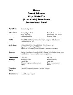 image result for skill based resume template high school - High School Resumes Templates