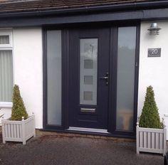 A Vogue Rockdoor finished off with two gl Modern Front Door, Front Door Design, Porch Uk, Composite Door, Interior Decorating, Interior Design, House Entrance, Back Doors, Front Porches