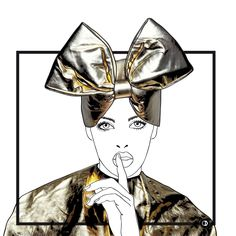 #WrapIT illustration by Chiary inspired by a Jamie Nelson editorial for Allure Russia. Model: Dani Lundquist. Problems? Wrap your head and put a bow on it! #coffeedential #editorial #gold #coffee #fashionillustration #chiararigoni #allure  #jamienelson